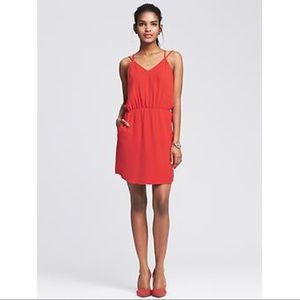 Banana Republic Poster Red Strappy Dress Pockets 0